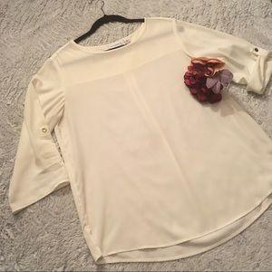 Susan Graver Classic Cream 3/4 sleeve blouse Sz M